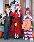 Mad Hatter, Queen of Hearts and Cheshire Cat Costume