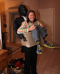 Man in Crate with Gorilla Costume