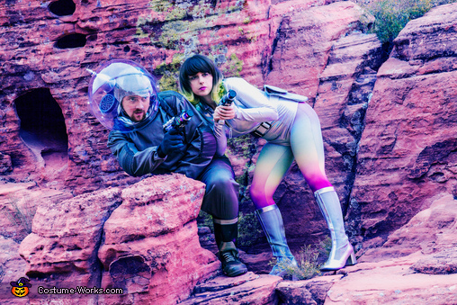 Space Girl and Astronaut hide from the Aliens!, 1960s Space Couple Costume