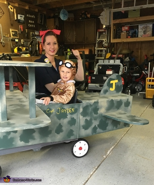 Mom as Rosie with capt Jayden, 50's Pilot Costume