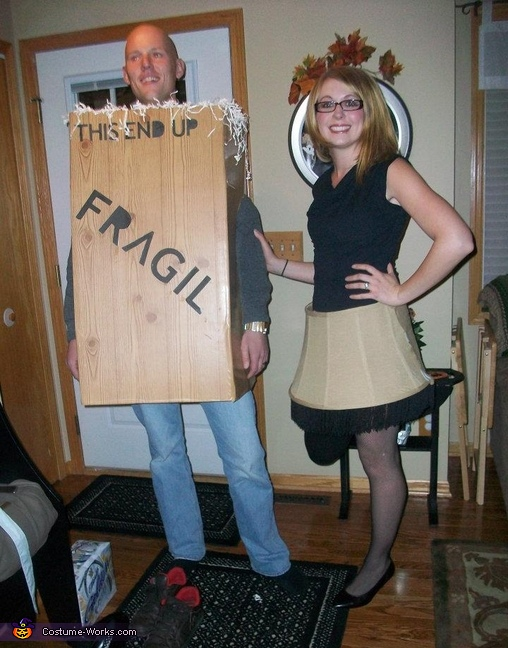 We lost the 'E.' Guess he is only 'frageel' now. :), A Christmas Story Leg Lamp & Box Couple's Costume