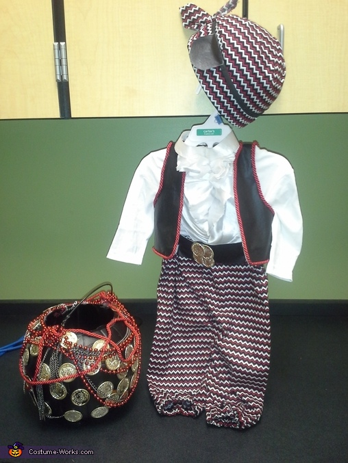 'A Little Pirate Pizazz' Prince Costume and treat bucket, A Little Pirate Pizazz Costume