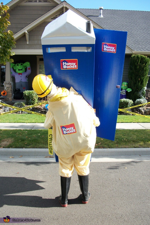 HONEY BUCKET WORKER FROM THE BACK, Honey Bucket Costume