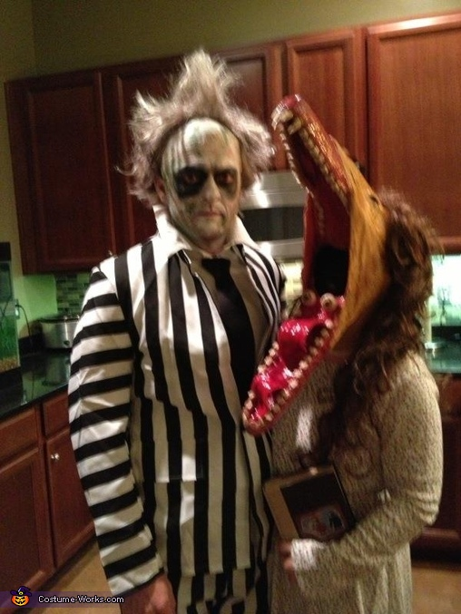 paint in progress, Adam and Barbara from Beetlejuice Costume