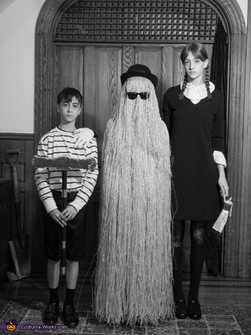 Pugsley (and The Thing!), Cousin Itt and Wednesday, Addams Family Costume