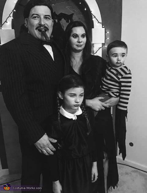 Black and white for the vintage tv look, Addams Family Costume