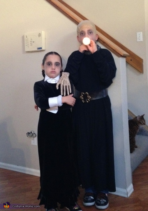 Addams Family Wednesday and Uncle Fester Costume