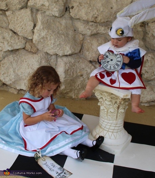 Alice in Wonderland and the White Rabbit Homemade Costume