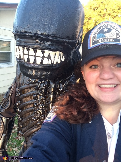 Face close up, Alien Xenomorph Costume