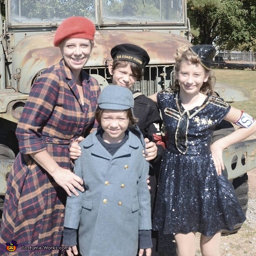 in front of a WWII era Jeep, Allied Forces Costume