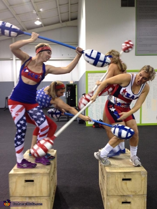 Women American Gladiators Jousting, American Gladiators Group Costume