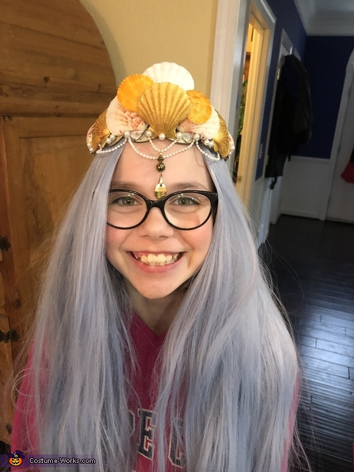 Testing out the crown and the wig!, Amphitrite - Sea Goddess Costume