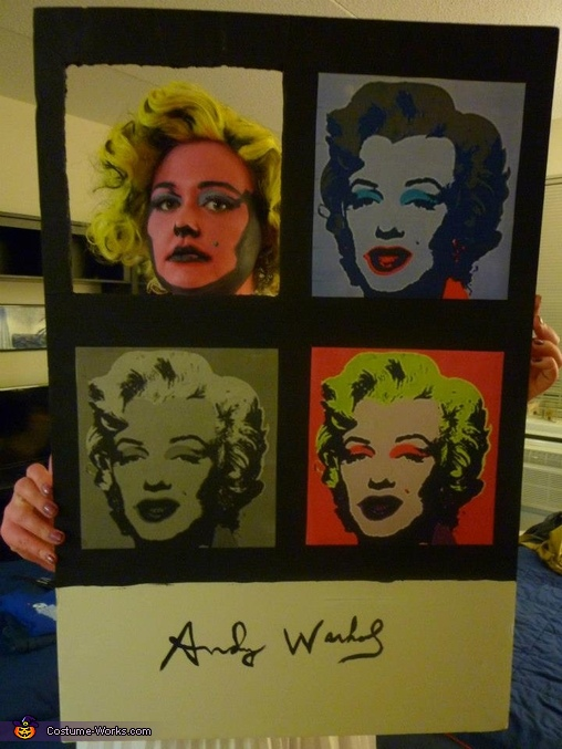 With the poster., Andy Warhol's Marilyn Monroe Costume