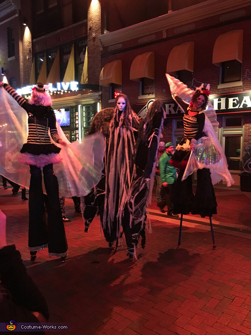 Posing and performing with other stilt walkers at PowerPlant LIVE!, Angel of Death Costume