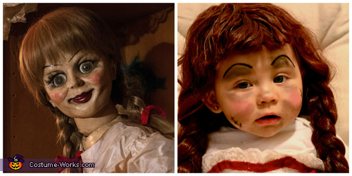 Comparison face shot, Annabelle Doll Costume