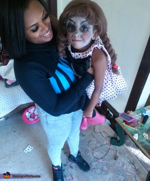 Me(her mom) holding her , Annabelle Doll Costume