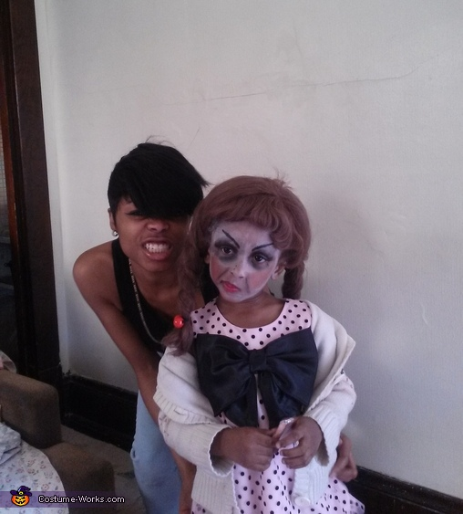 Being silly with my sister, Annabelle Doll Costume