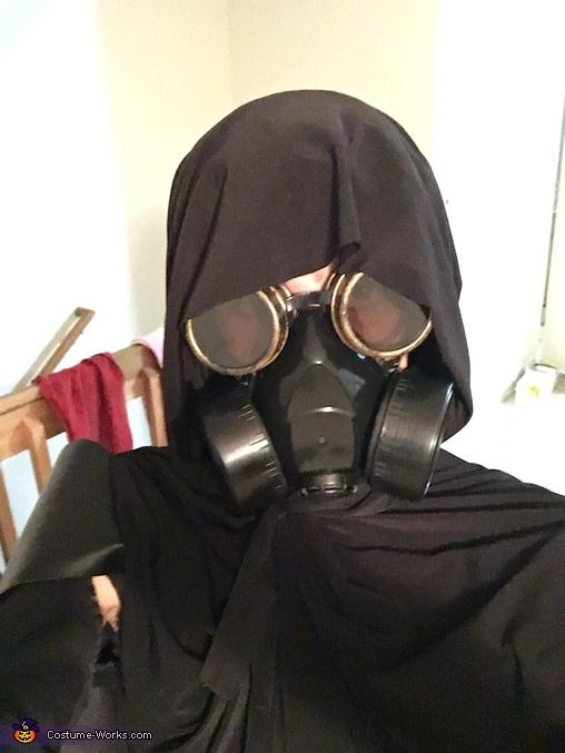 Face close up with hood, Apocalypse Survivor Costume