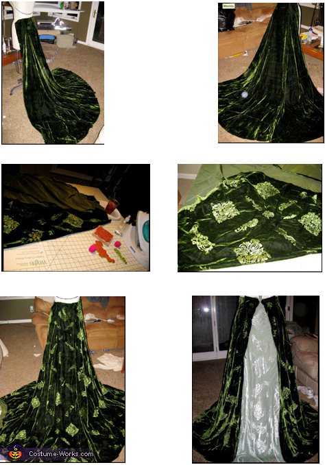 Under skirt and over gown in process with hand embossing, Astranaithes Dragon Witch Costume