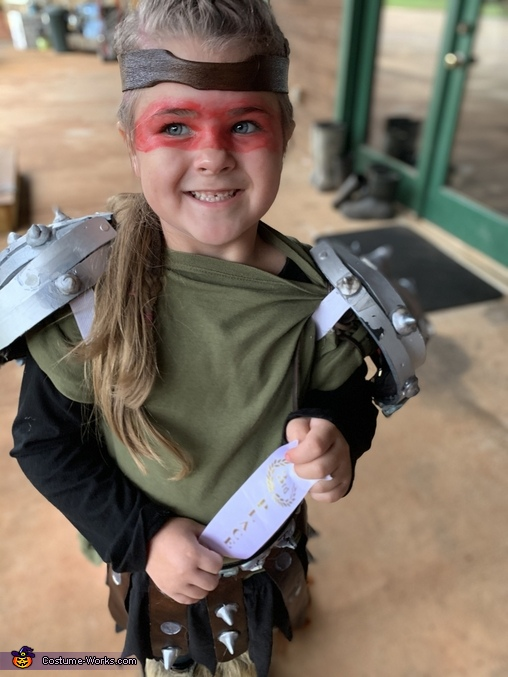 She won third place for her costume at school, Astrid from How to Train Your Dragon Costume
