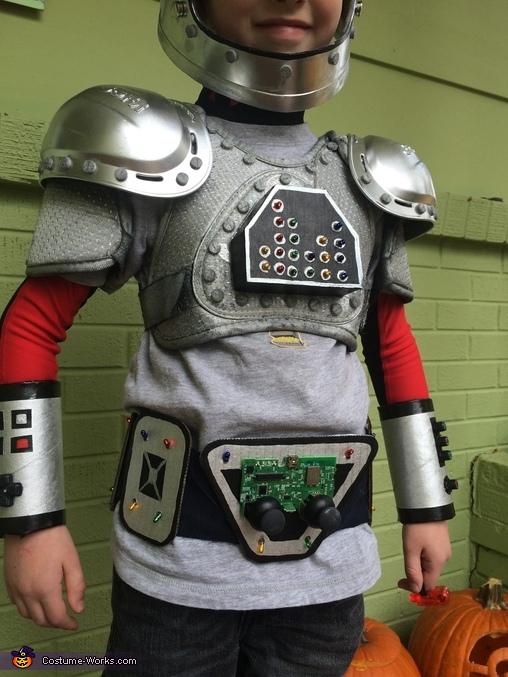 Close up of chest pads and belt, Awesome Bot Costume