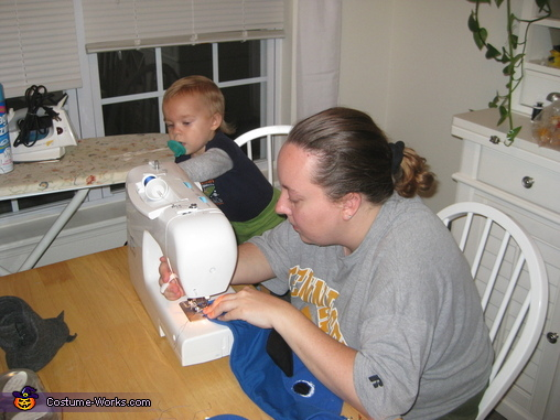 Helping mommy with sewing, Baby Blue Macaw Costume