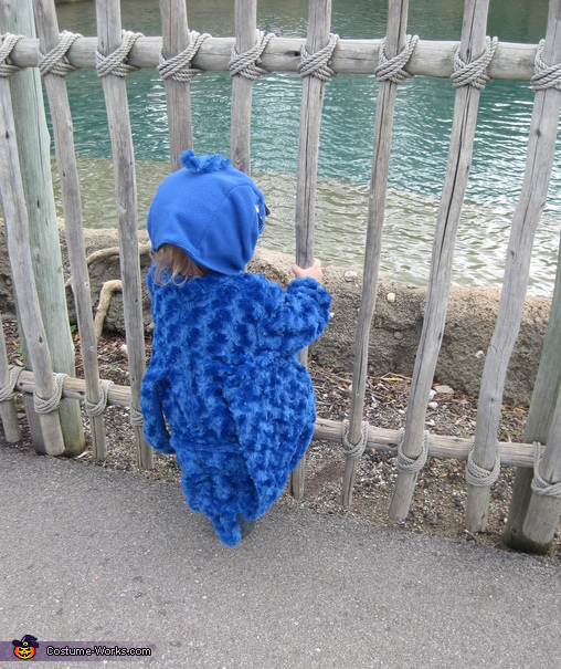 Backside of costume, Baby Blue Macaw Costume