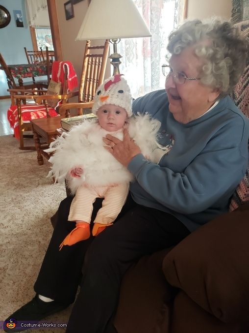 Presley with Great Grandma, Baby Chicken Costume