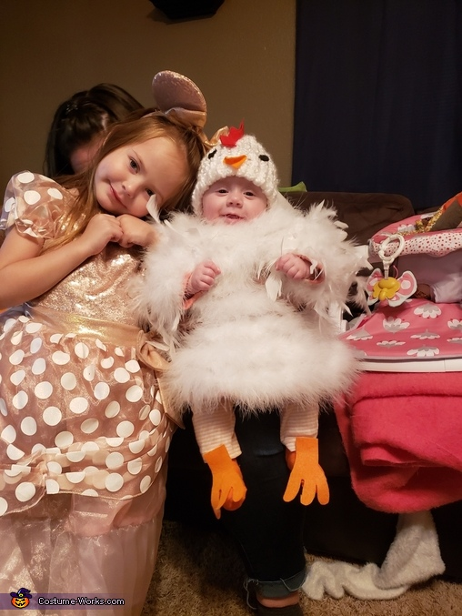 Presley and her big cousin Grace, Baby Chicken Costume