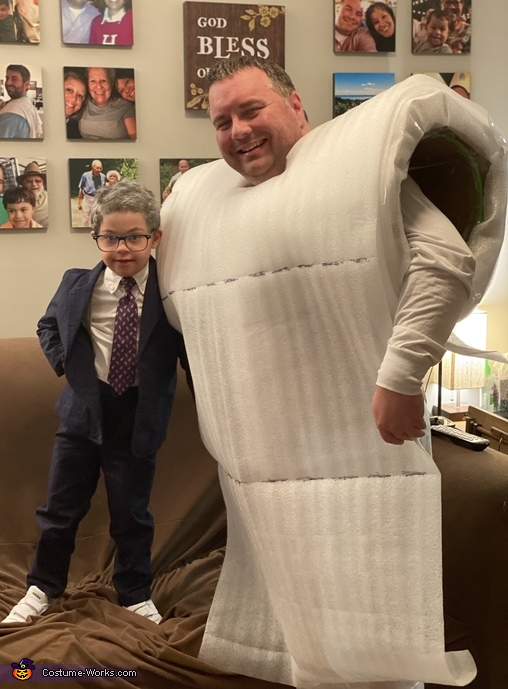Dr. Fauci and a roll of TP - shows the full baby doctor ensemble before his press conference., Baby Doctor Fauci Costume