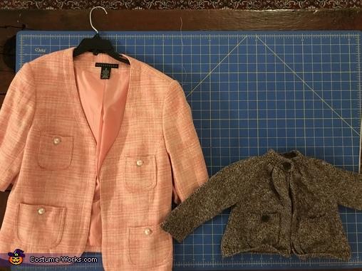 The original jacket next to the size I hoped to make it., Baby Dolores Umbridge Costume