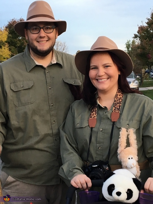 My husband and I sporting our finest safari guide gear!, Baby Elephant and the Safari Costume