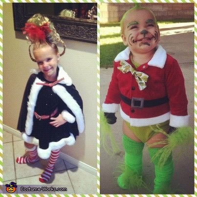 Vandy as Cindy Lou Who and Paxton as Baby Grinch, Baby Grinch and Cindy Lou Who Costumes
