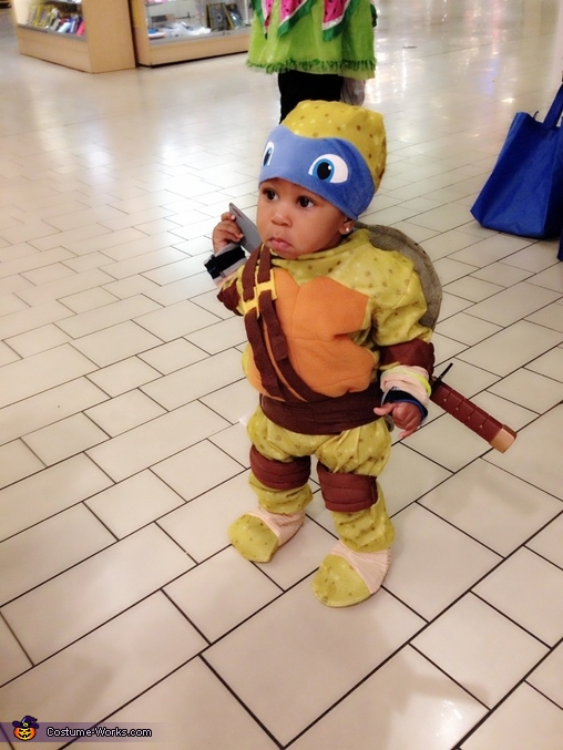 Why are all these people aking pictures of me lol, Baby Ninja Turtle Leonardo Costume