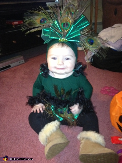 Cali-Skye's First Halloween as a Baby Peacock !, Homemade Peacock Baby Costume
