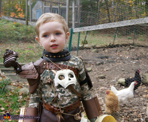 "...and for the cute factor: ""Do you think the chickens will be scared?"", Baby Predator Costume"
