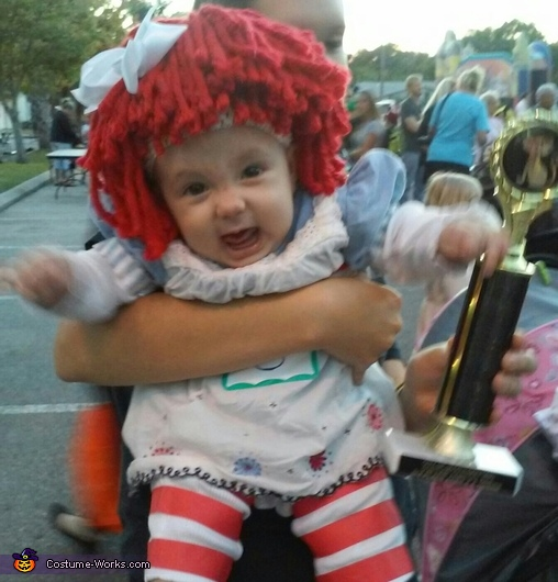 Believe it or not, she was actually in a great mood! Haha, Baby Raggedy Ann Costume