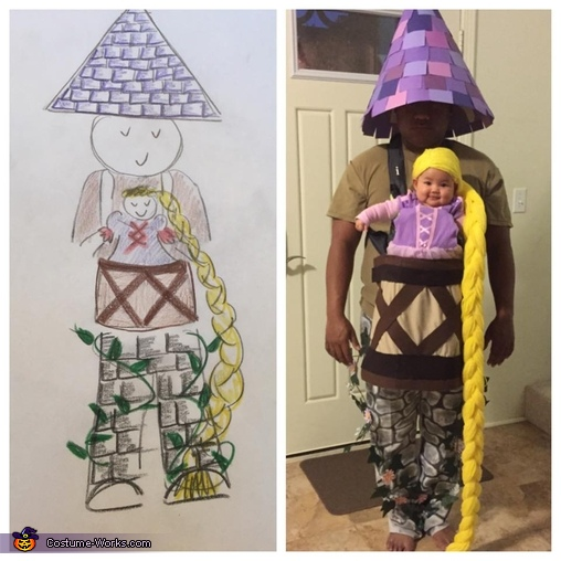 This is the sketch I made of my idea next to the finished product, Macie-punzel Costume