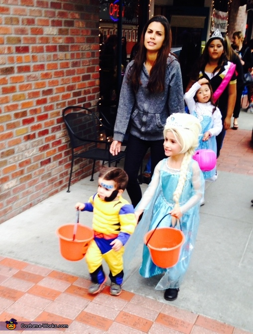 Wolverine and Elsa holding hands, Baby Wolverine Costume