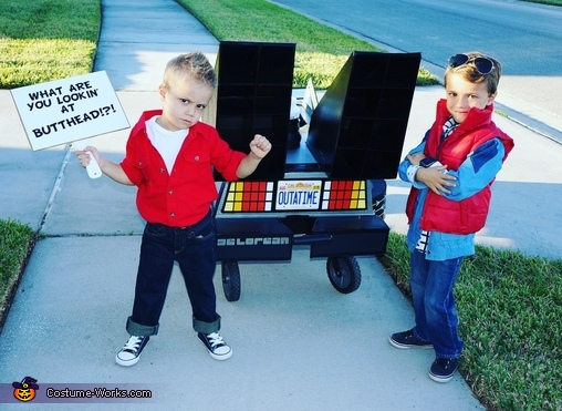 Biff and Marty behind the Delorean, Back to the Future Brothers Costume