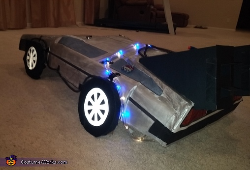 Delorean Lights on view, Back to the Future Delorean Time Machine Costume