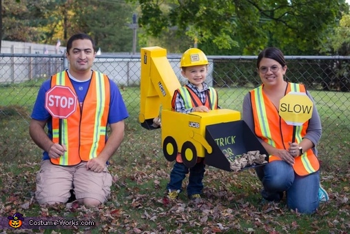 Backhoe with his road crew to keep him safe, Backhoe Costume