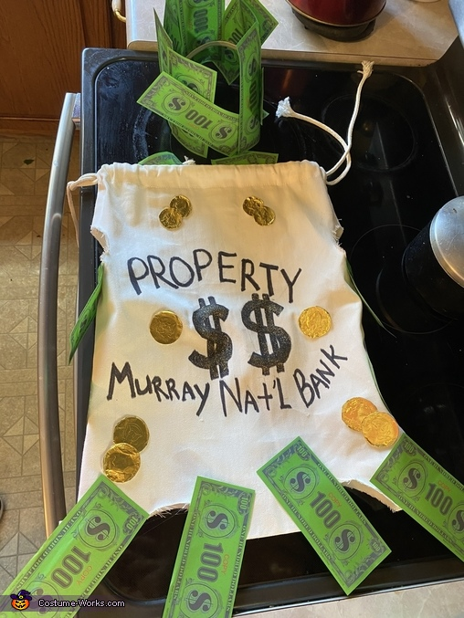 Picture of costume where you can read all the writing, Bag of Money Costume