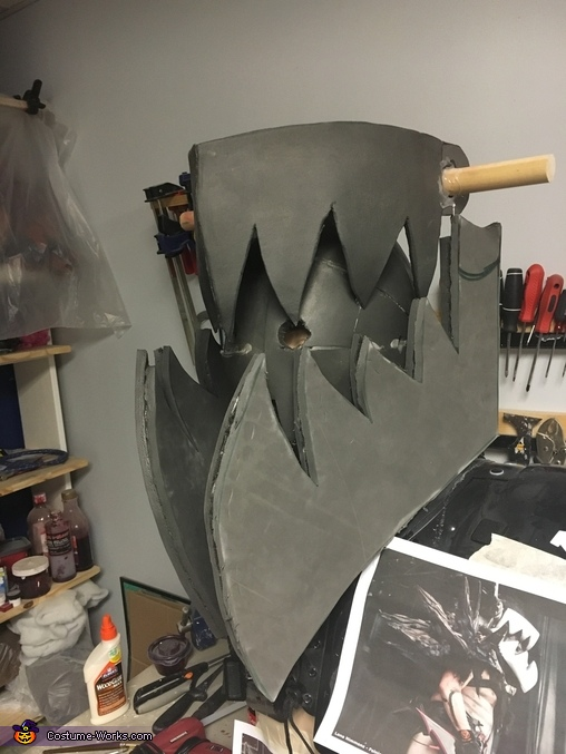 Progress shot of helmet/mask, Balsac, the Jaws of Death Costume