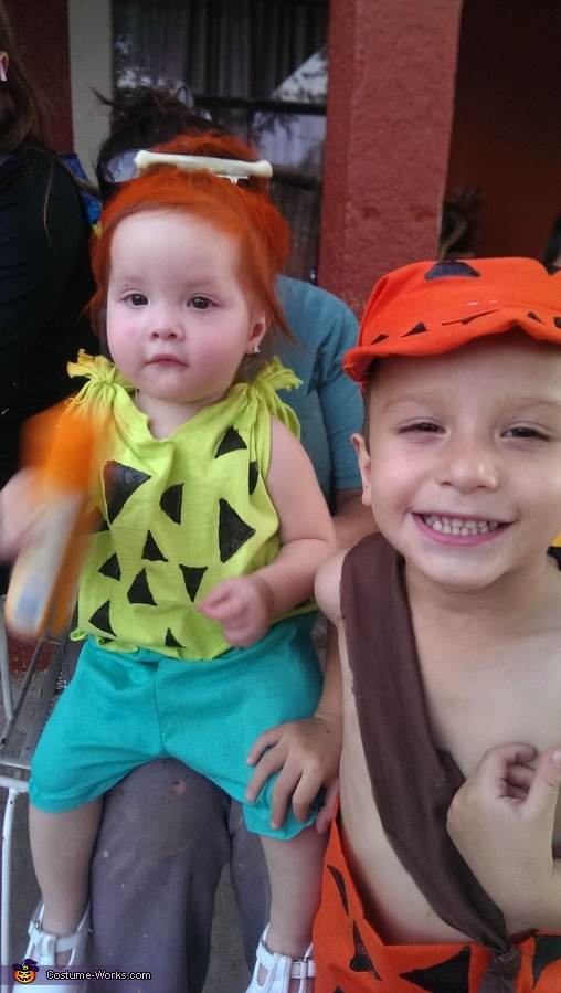 Flintstones Wilma, Pebbles and Bam Bam Homemade Costumes