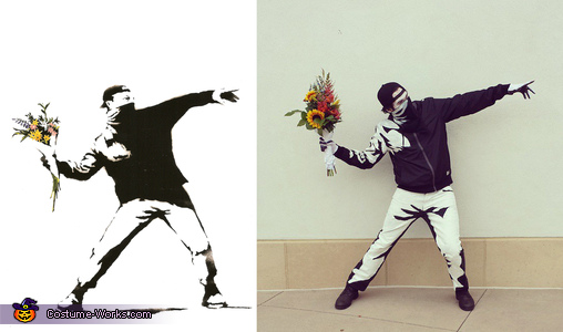 The original artwork (left) next to my costume (right), Banksy's Flower Thrower Costume