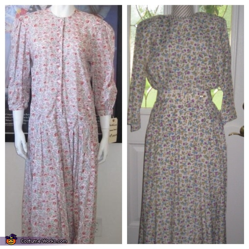 Barbara's original dress (on the left), Etsy-dress on the right, Barbara and Adam Maitland Costume
