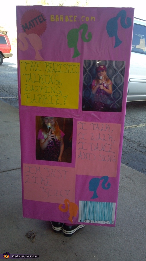 The back of her box, Barbie in a Box Costume