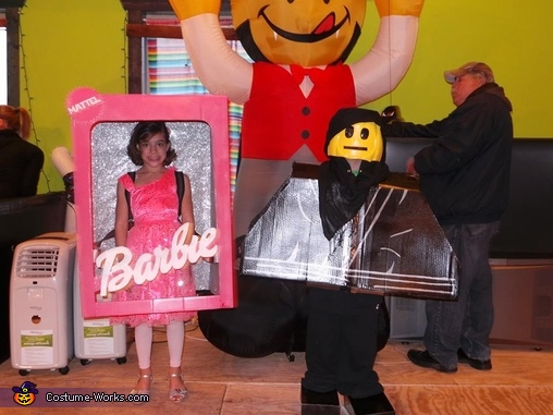 My daugher and son's costumes., Barbie in a Box Costume