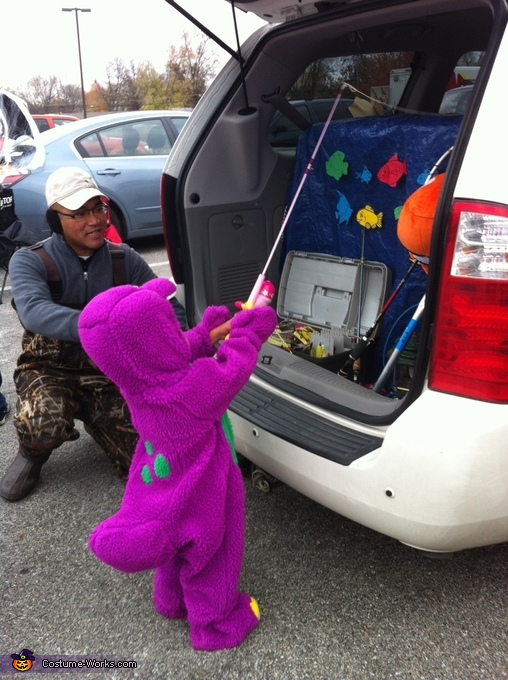 Fishing for Candy, Barney is a Dinosaur Costume